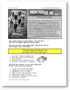 NOW YOU SEE ME, Whole-Movie English (ESL) Lesson | eBooks | Education