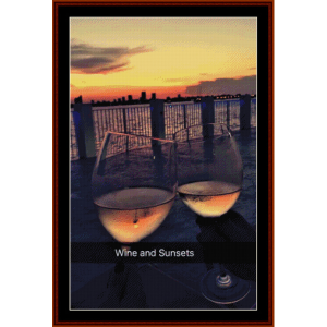 wine and sunsets - custom pattern by cross stitch collectibles