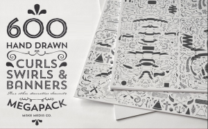 600 Hand Draw curls, swirls and banner design elements | Photos and Images | Digital Art