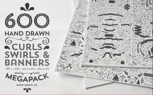 600 hand draw curls, swirls and banner design elements