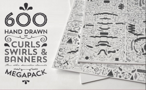 600 Hand Draw curls, swirls and banner design elements | Photos and Images | Clip Art
