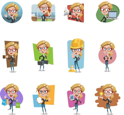 First Additional product image for - Business SVG for whiteboard animations. Casual Business girl. 112 different poses + free music and another character pack