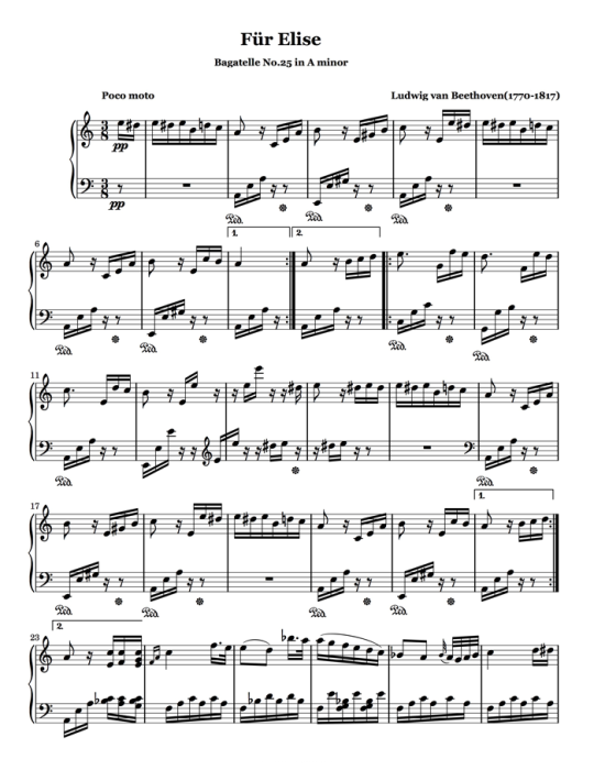 First Additional product image for - Piano Music Sheets - Für Elise WoO 59 by Beethoven