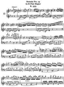 piano music sheets - sonata no. 13 in b-flat major k.333 -  piano by wolfgang amadeus mozart
