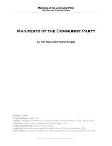 manifesto of the communist party by karl marx