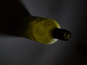 frozen winebottle