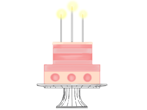 First Additional product image for - Pink lit birthday party cake clip art