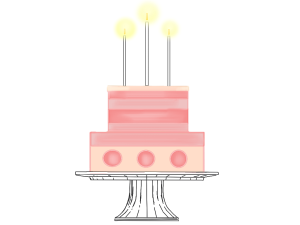 pink lit birthday party cake clip art