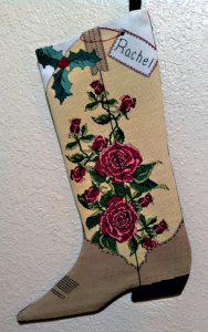 Red Roses Cowgirl Boot Stocking | Crafting | Cross-Stitch | Holiday and Seasonal