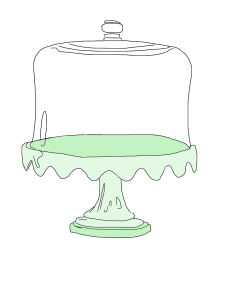 green glass cake plate stand clip art