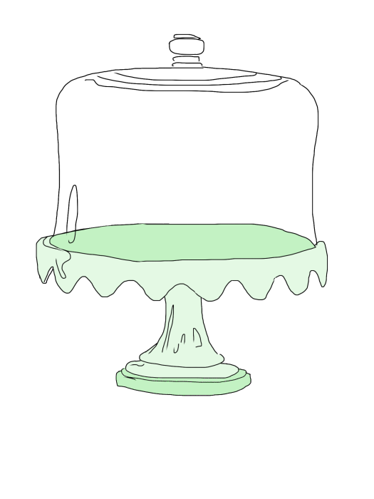 First Additional product image for - Glass Cake plate sketch