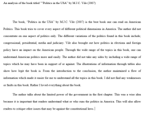 5 page analysis of american politics an analysis of the book titled politics in the usa by m.j.c. vile