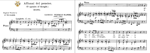 First Additional product image for - Affani del pensier, Low Voice in C Minor. For ass, Contralto, G.F.Handel, Tablet Sheet Music. A5 (Landscape). Schirmer (1894)
