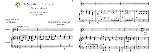 First Additional product image for - All'acquisto di gloria, High Voice in F Major, A.Scarlatti. Tablet Sheet Music. A5 (Landscape).Schirmer (1894)