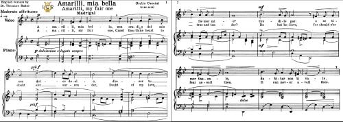 First Additional product image for - Amarilli,mia bella; Medium-High Voice in G Minor, G.Caccini. For Soprano, Tenor, Mezzo, Baritone. Tablet Sheet Music. A5 (Landscape).Schirmer  (1894)