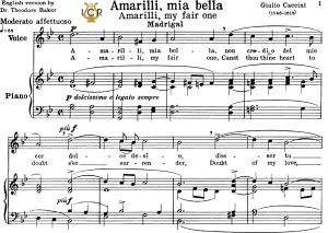 Amarilli,mia bella; Medium-High Voice in G Minor, G.Caccini. For Soprano, Tenor, Mezzo, Baritone. Tablet Sheet Music. A5 (Landscape).Schirmer  (1894) | eBooks | Sheet Music