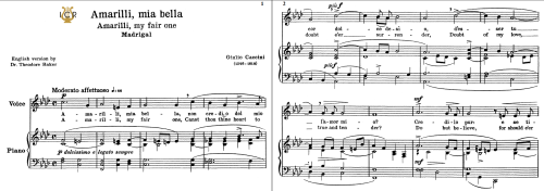 First Additional product image for - Amarilli, mia bella; Low Voice in F Minor, G.Caccini. Transposition for Low Voice (Schirmer). For Bass, Contralto, Tablet Sheet Music. A5 (Landscape).Schirmer (1894)