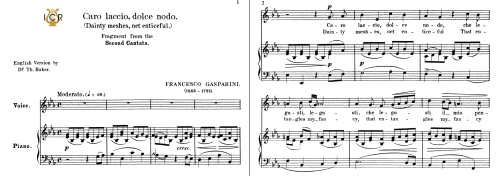 First Additional product image for - Caro laccio,dolce nodo, Medium-low Voice in E Flat Major, F.Gasparini. Tablet Sheet Music. A5 (Landscape). Schirmer (1894)
