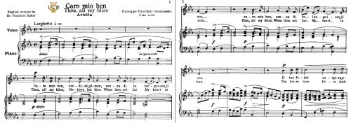 First Additional product image for - Caro mio ben, Medium-High Voice in E Flat Major, G.Giordani. Soprano, Tenor, Mezzo, Baritone. Tablet Sheet Music. A5 (Landscape). Schirmer (1894)