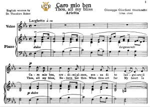 Caro mio ben, Medium-High Voice in E Flat Major, G.Giordani. Soprano, Tenor, Mezzo, Baritone. Tablet Sheet Music. A5 (Landscape). Schirmer (1894) | eBooks | Sheet Music
