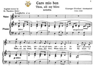 Caro mio ben, Low Voice in C Major, G.Giordani. Transposition for Low Voice (Schirmer). For Bass, Contralto.Tablet Sheet Music. A5 (Landscape). Schirmer (1894) | eBooks | Sheet Music