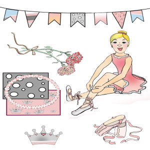 9 piece ballet ballerina digital scrapbook kit clip art