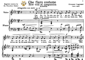 che fiero costume, low voice in f minor, g.legrenzi. for bass, contralto. tablet sheet music. a5 (landscape. schirmer (1894)).