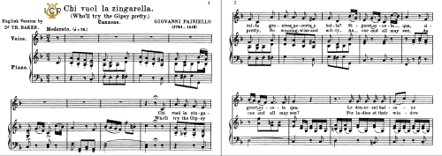 First Additional product image for - Chi vuol la zingarella, Medium Voice in F Major, G.Paisiello. Soprano/Mezzo. Tablet Sheet Music. A5 (Landscape). Schirmer (1894).
