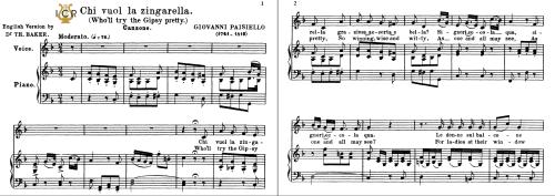 First Additional product image for - Chi vuol la zingarella, Medium Voice in F Major, G.Paisiello. Soprano/Mezzo. Tablet Sheet Music. A5 (Landscape). Schirmer (1894).