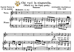 Chi vuol la zingarella, Medium Voice in F Major, G.Paisiello. Soprano/Mezzo. Tablet Sheet Music. A5 (Landscape). Schirmer (1894). | eBooks | Sheet Music