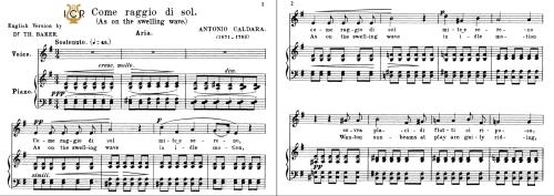 First Additional product image for - Come raggio di sol, Medium Voice in E Minor, A.Caldara. For Mezzo, Baritone. Tablet Sheet Music. A5 (Landscape). Schirmer (1894)