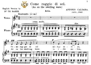 come raggio di sol, medium voice in e minor, a.caldara. for mezzo, baritone. tablet sheet music. a5 (landscape). schirmer (1894)