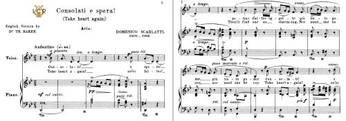 First Additional product image for - Consolati e spera!, Medium-Low Voice in G Minor, D.Scarlatti. For Mezzo/Baritone. Tablet Sheet Music.A5 (Landscape). Schirmer (1894)