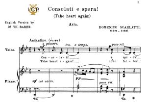 consolati e spera!, medium-low voice in g minor, d.scarlatti. for mezzo/baritone. tablet sheet music.a5 (landscape). schirmer (1894)