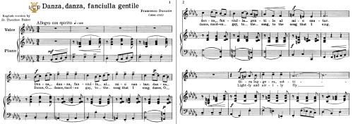 First Additional product image for - Danza, danza, fanciulla; Medium Voice in B Flat Minor, F.Durante. For Mezzo, Baritone, Soprano. Tablet Sheet Music. A5 (Landscape). Schirmer (1894)