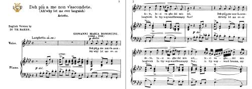 First Additional product image for - Deh più a me non v'ascondete, Medium Voice in A Flat Major, G.M.Bononcini. For Mezzo, Baritone, Soprano. Tablet Sheet Music. A5 (Landscape). Schirmer (1894).