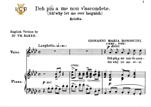 deh più a me non v'ascondete, medium voice in a flat major, g.m.bononcini. for mezzo, baritone, soprano. tablet sheet music. a5 (landscape). schirmer (1894).