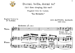 Dormi, bella, Medium Voice in A Flat Major, G.B.Bassani. For Mezzo, Baritone, Soprano. Tablet Sheet Music. A5 (Landscape). Schirmer (1894) | eBooks | Sheet Music