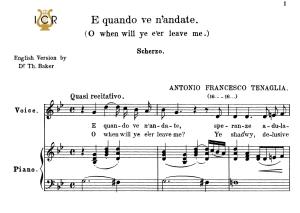 E quando ve n'andate High Voice in G Minor, A.Tenaglia. For Soprano, Tenor. Tablet Sheet Music. A5 (Landscape). Schirmer (1894) | eBooks | Sheet Music