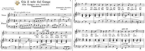 First Additional product image for - Già il sole dal Gange, Medium Voice in A Flat Major, A.Scarlatti. For Soprano, Mezzo, Baritone, Tenor.Tablet Sheet Music. A5 (L-andscape). Schirmer (1894).