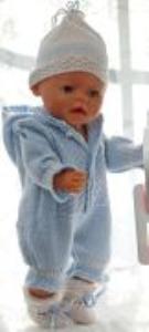 dollknittingpatterns 0172d simen - babydress, lue, sokker og teppe-(norsk)