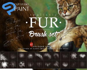 realistic fur brush set for clip studio paint