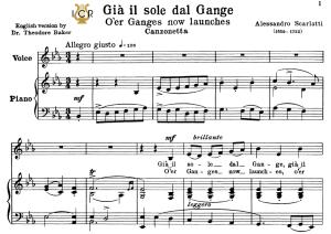 Già il sole dal Gange, Low Voice in E Flat Major, A.Scarlatti. For Contralto, Bass.Tablet Sheet Music. A5 (Landscape). Schirmer (1894) | eBooks | Sheet Music