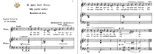 First Additional product image for - Il mio bel foco, Medium Voice in G Minor, B.Marcello. For Mezzo, Baritone.Tablet Sheet Music. A5 (Landscape). Schirmer (1894)