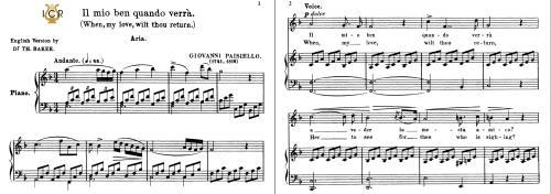 First Additional product image for - Il mio ben quando verrà, High Voice in F Major, G.Paisiello. For Soprano, Mezzz.Tablet Sheet Music. A5 (Landscape). Schirmer (1894)