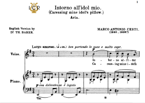 Intorno all'idol mio, Medium-Low Voice in E Minor, M.A.Cesti. For Mezzo, Baritone. Tablet Sheet Music. A5 (Landscape). Schirmer (1894). | eBooks | Sheet Music