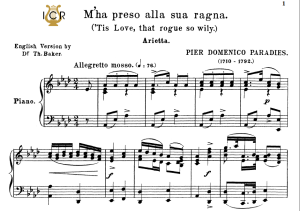 m'ha preso alla sua ragna, medium voice in a flat major, p.d.paradies. for mezzo, baritone, soprano. tablet sheet music. a5 (landscape). schirmer (1894)