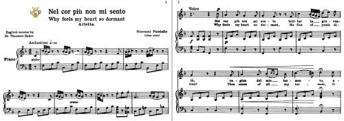 First Additional product image for - Nel cor più non mi sento, Medium-High Voice in F Major, G.Paisiello. For Soprano, Mezzo. Tablet Sheet Music. A5 (Landscape). Schirmer (1894)