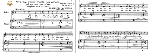 First Additional product image for - Non m'e grave, Medium-Low Voice in C Major, B. Marcello. For Mezzo, Baritone, Tablet Sheet Music. A5 (Landscape). Schirmer (1894)