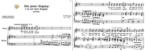 First Additional product image for - Non posso disperar, Medium Voice in E Minor, G.M.Bononcini. For Soprano, Mezzo, Tenor.   Tablet Sheet Music. A5 (Landscape). Schirmer (1894).
